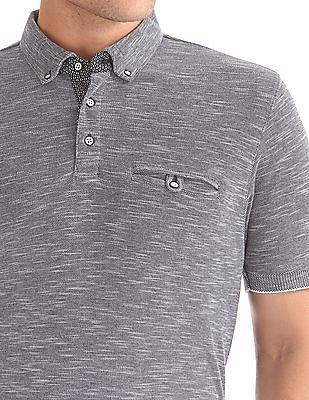 Flying Machine Slim Fit Heathered Polo Shirt
