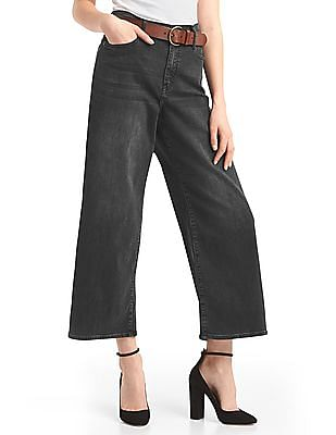 GAP Women Black High Rise Wide-Leg Crop Jeans