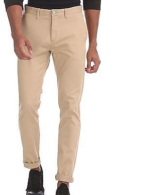 U.S. Polo Assn. Beige Denver Slim Fit Patterned Trousers