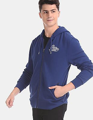 GAP Men Blue Appliqued Hooded Sweatshirt