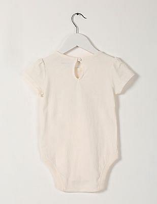GAP Baby White Short Sleeve Printed Bodysuit