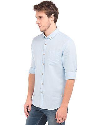Flying Machine Button Down Cotton Linen Shirt