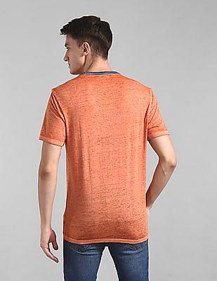 GAP Orange Burnout Ringer Crewneck T-Shirt