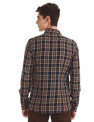 Arrow Sports Brown Spread Collar Check Shirt