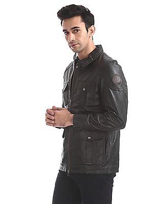 U.S. Polo Assn. Regular Fit Genuine Leather Biker Jacket