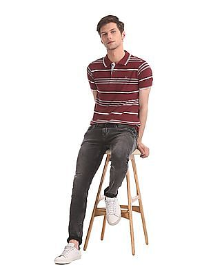 Ruggers Red Striped Pique Polo Shirt