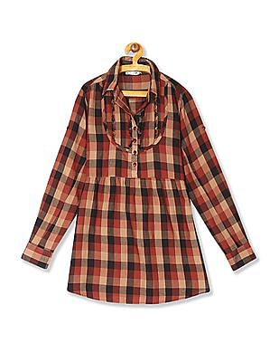 Flying Machine Long Sleeve Check Top