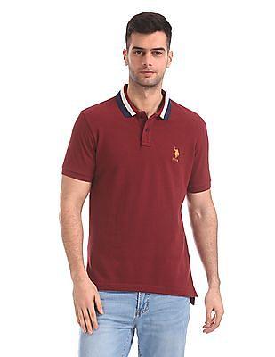 U.S. Polo Assn. Stripe Collar Pique Polo Shirt