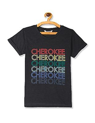 Cherokee Grey Upturned Sleeve Front Print T-Shirt