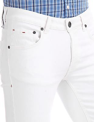 Colt White Skinny Fit Distressed Jeans