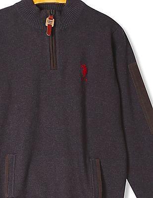 U.S. Polo Assn. Kids Boys Stand Neck Long Sleeve Sweater