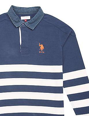 U.S. Polo Assn. Kids Boys Striped Denim Collar Polo Shirt