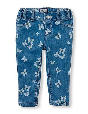 The Children's Place Toddler Girl Butterfly Print Knit Denim Jeggings
