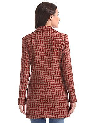 U.S. Polo Assn. Women Houndstooth Double Breasted Trench Coat