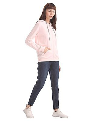 Flying Machine Women Pink Drawstring Hood Solid Sweatshirt