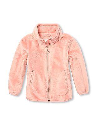 The Children's Place Toddler Girls Mock Neck Faux Fur Jacket