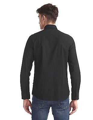 Arrow Sports Black Button Down Collar Slim Fit Shirt