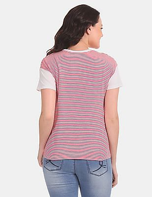 SUGR Women Red And White Striped Round Neck T-Shirt