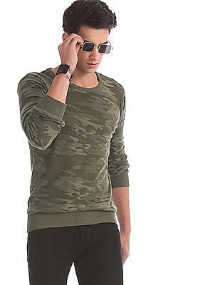 Ed Hardy Green Crew Neck Camo Pattern Sweater