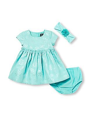 The Children's Place Baby Girls Short Sleeve Metallic Jacquard Snowflake Dress, Headwrap And Bloomers Set