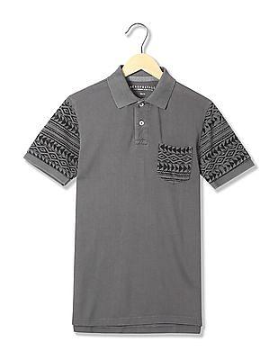 Aeropostale Printed Sleeve Cotton Polo Shirt