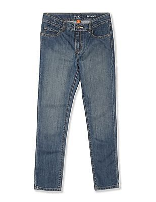The Children's Place Blue Boys Skinny Fit Stone Wash Jeans