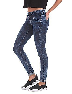 EdHardy Women Super Skinny Fit Acid Wash Jeans