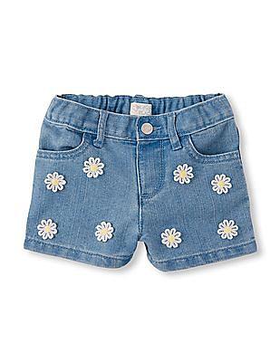 The Children's Place Toddler Girl Crochet Daisy Woven Denim Shorts