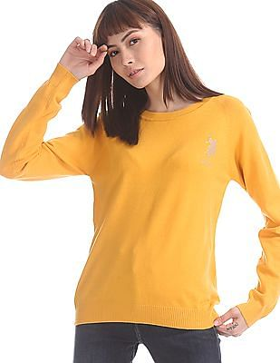 U.S. Polo Assn. Women Yellow Raglan Sleeve Flat Knit Sweater