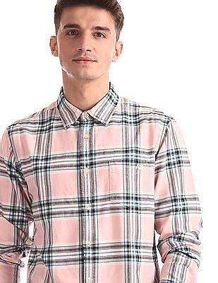 Aeropostale Pink Check Oxford Shirt