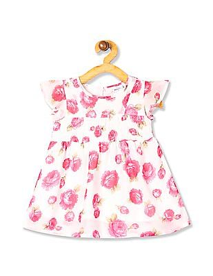 Donuts White Girls Floral Print Fit And Flare Dress
