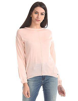 Elle Balloon Sleeve Solid Sweater