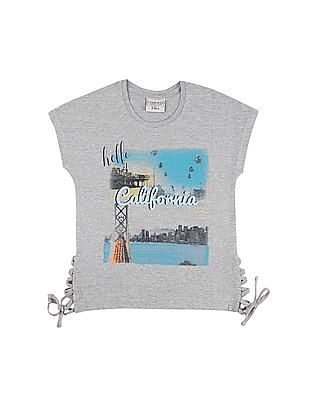 Cherokee Girls Heathered Lace Up Top