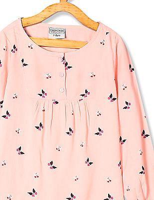 Cherokee Pink Girls Long Sleeve Floral Print Top