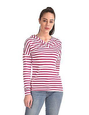 Flying Machine Women Striped Hooded Sweatshirt