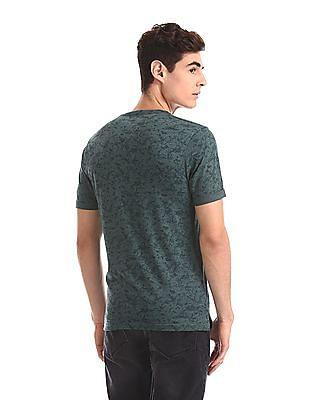 Cherokee Green Crew Neck Printed T-Shirt