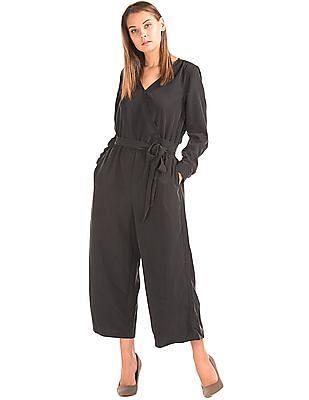 GAP Women Black Tie-Belt Culotte Jumpsuit