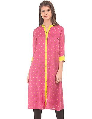 Anahi Contrast Trim Princess Panel Kurta