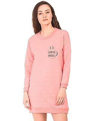SUGR Crew Neck Heathered Sweatshirt Dress