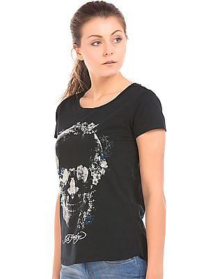 EdHardy Women Floral Skull Print Cotton T-Shirt