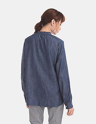 GAP Women Blue Long Sleeve Bow Neck Top