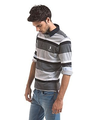 U.S. Polo Assn. Long Sleeve Striped Polo Shirt