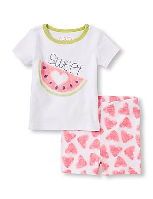 The Children's Place Baby Girls White Short Sleeve 'Sweet' Watermelon Top And Heart Watermelon Print Shorts PJ Set