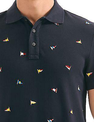 Nautica Short Sleeve Embroidered Flag Polo