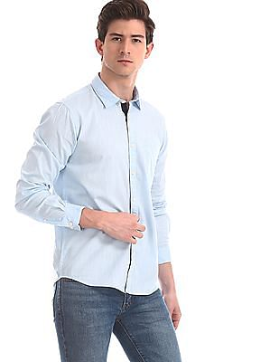 Ruggers Blue Contemporary Regular Fit Slub Weave Shirt