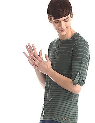 Cherokee Green Patch Pocket Striped Henley T-Shirt