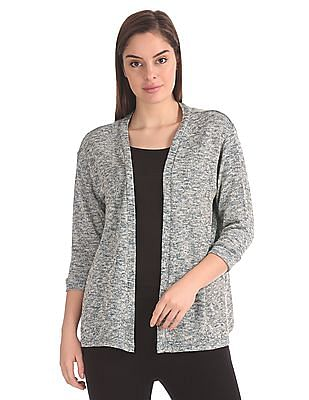 SUGR Patterned Knit Open Front Shrug