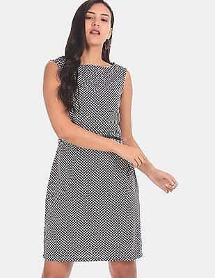 Elle Studio Women Black And White Sleeveless Printed Shift Dress
