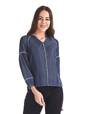 U.S. Polo Assn. Women Mandarin Collar Raglan Sleeve Top