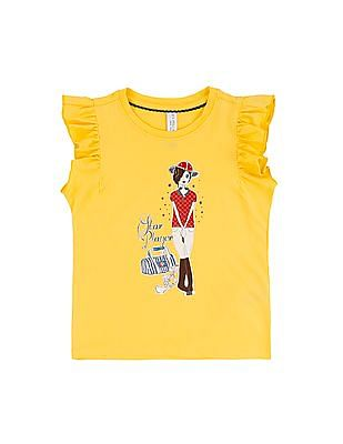 U.S. Polo Assn. Kids Girls Flutter Sleeve Printed Top
